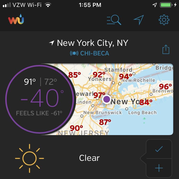 Weather Underground iOS App Showing the Temperature as -40°.